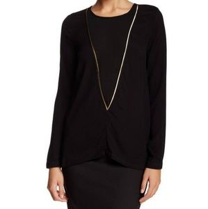 Sophie Rue Black/Gold Long Sleeve Top L